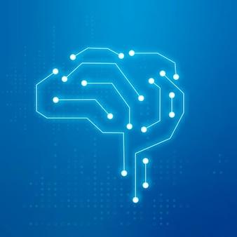 Vetor de ícone de cérebro de conexão de tecnologia de ia no conceito de transformação digital azul