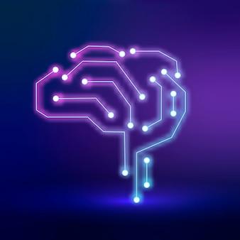 Vetor de ícone de cérebro de conexão de tecnologia de ia no conceito roxo de transformação digital