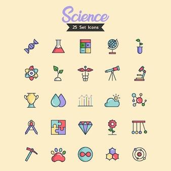 Vetor de ícone de ciência cheio estilo de contorno