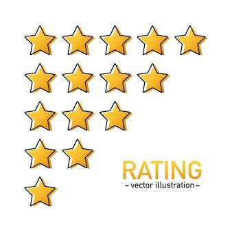 Vetor de ícone de classificação de 5 estrelas. distintivo isolado para site ou aplicativo. estrelas revisão de classificação do produto do cliente.