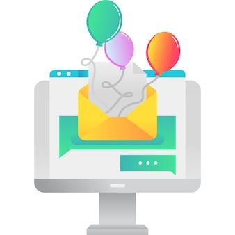 Vetor de ícone de convite de festa online em branco