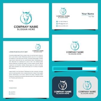 Vetor de ícone de logotipo de cavalo design de vetor de ícone de cartão de visita