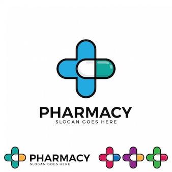 Vetor de ícone de logotipo de farmácia.