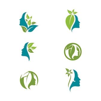 Vetor de ícone de logotipo de ilustração de personagem de silhueta de rosto de mulher