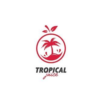 Vetor de ícone de logotipo de suco fresco exótico de ilha tropical
