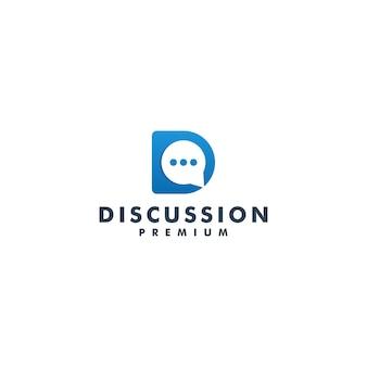 Vetor de ícone de mensagem de design de logotipo de discussão