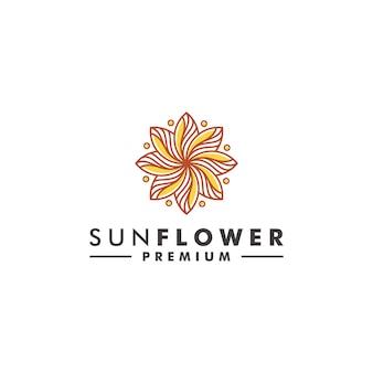 Vetor de ícone de natureza de design de logotipo de flor do sol