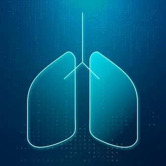 Vetor de ícone de pulmões para sistema respiratório de saúde inteligente
