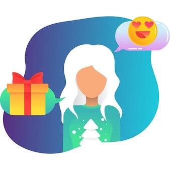 Vetor de ícone de saudação de natal online em branco