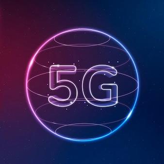 Vetor de ícone de tecnologia de rede 5g em neon em fundo gradiente
