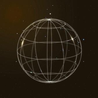 Vetor de ícone de tecnologia de rede global em ouro em fundo gradiente