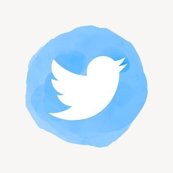Vetor de ícone do app twitter com um efeito gráfico em aquarela. 21 de julho de 2021 - banguecoque, tailândia