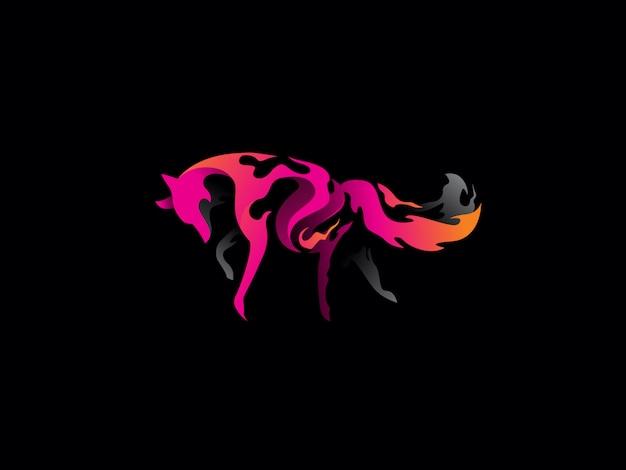Vetor de ícone exclusivo logotipo gradiente raposa