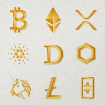 Vetor de ícones de ativos digitais na coleção de conceito de blockchain de ouro fintech