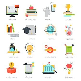 Vetor de ícones de educação on-line definir escola de distância