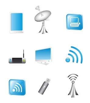 Vetor de ícones de tecnologia e comunicação sem fio