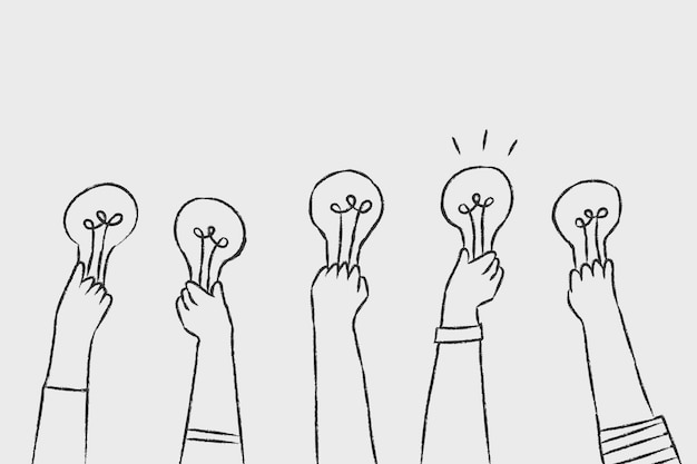 Vetor de ideias criativas, doodle de lâmpada