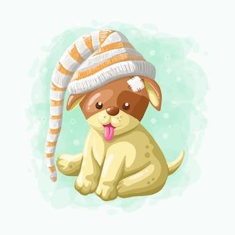 Vetor de ilustração de cachorro bonito dos desenhos animados