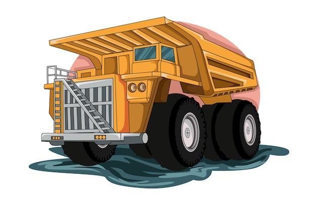 Vetor de ilustração de caminhão grande de construção
