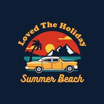 Vetor de ilustração de carro de férias de verão praia