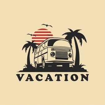 Vetor de ilustração de carro de férias de verão