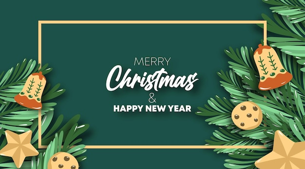 Vetor de ilustração de cartão de feliz natal e feliz ano novo