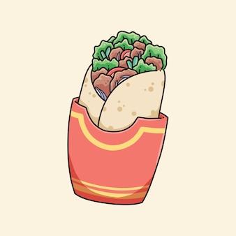 Vetor de ilustração de comida kebab fofo desenhado à mão