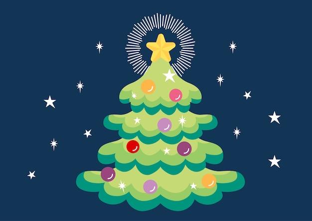 Vetor de ilustração de decoração de árvore de natal