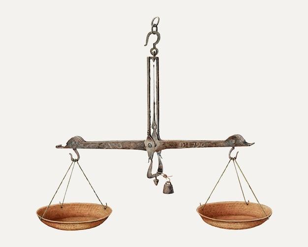 Vetor de ilustração de escalas de equilíbrio vintage, remixado da arte de william kieckhofel
