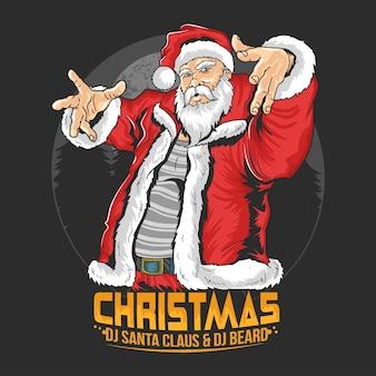 Vetor de ilustração de festa de natal de papai noel raper