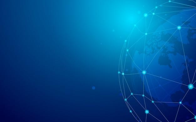 Vetor de ilustração de fundo azul de conexão em todo o mundo