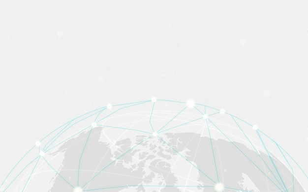 Vetor de ilustração de fundo cinza de conexão em todo o mundo