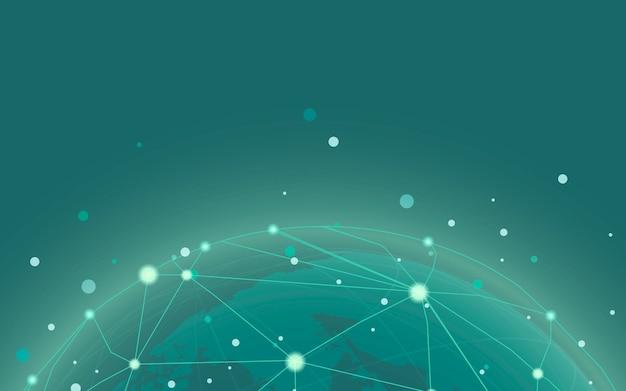Vetor de ilustração de fundo verde de conexão em todo o mundo