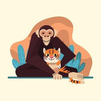 Vetor de ilustração de macaco de modelo