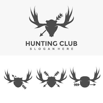 Vetor de ilustração de modelo de design de logotipo de caça