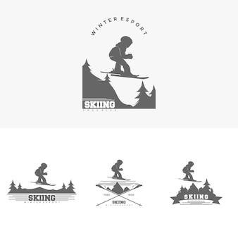 Vetor de ilustração de modelo de design de logotipo de esqui de inverno