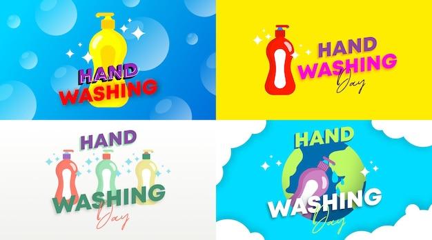 Vetor de ilustração de plano de fundo do dia global de lavagem das mãos