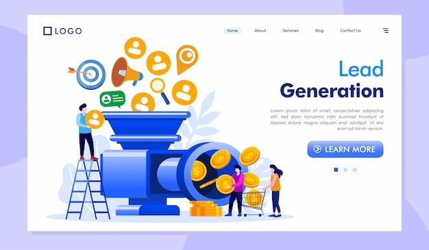 Vetor de ilustração de site de página de destino de geração de leads