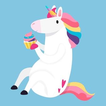 Vetor de ilustração de unicórnio mágico arco-íris