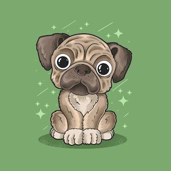 Vetor de ilustração estilo grunge pequeno cão pug