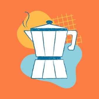 Vetor de ilustração funky do elemento de design de café e café