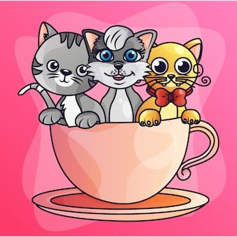 Vetor de ilustração gradiente de três gatos