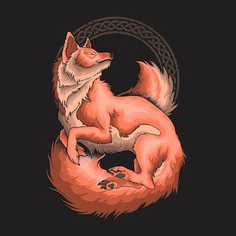Vetor de ilustração ornamental de gato lindo