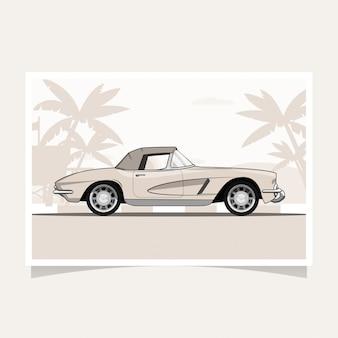 Vetor de ilustração plana de design conceitual de carro clássico
