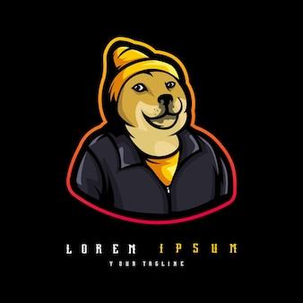 Vetor de ilustração vetorial de design de logotipo de mascote de shiba inu. ilustração de um cachorro usando chapéu e jaqueta