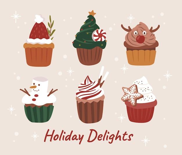 Vetor de ilustrações de cupcake fofinho de feliz natal