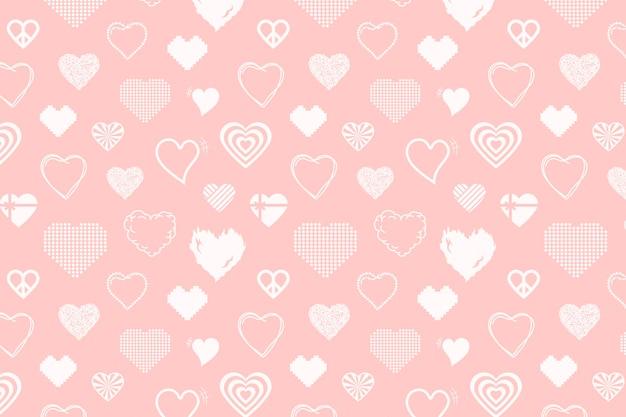 Vetor de imagem de fundo de padrão de coração fofo