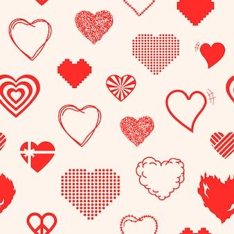Vetor de imagem de fundo de padrão de coração vermelho