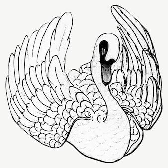 Vetor de impressão da arte do cisne vintage, remix de obras de arte de theo van hoytema