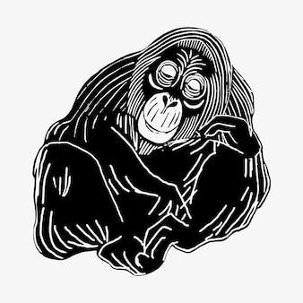 Vetor de impressão de arte animal de orangotango vintage, remix de obras de samuel jessurun de mesquita